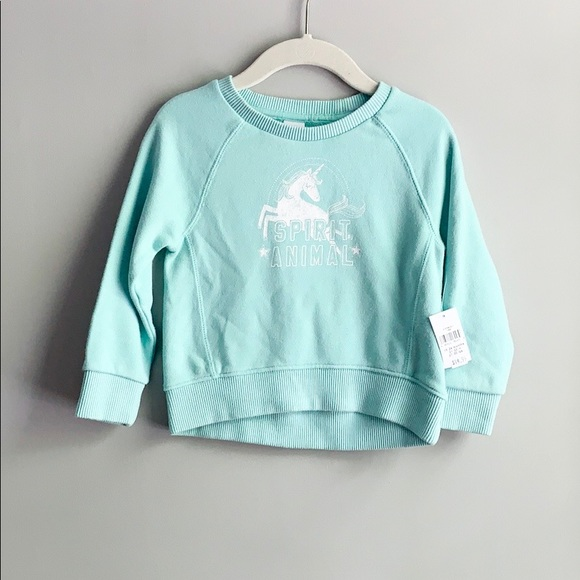 399c337bd Baby Gap Teal Unicorn Crew Neck Sweatshirt NWT